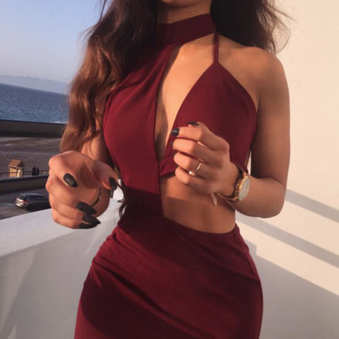 Solid color hanging neck Dress