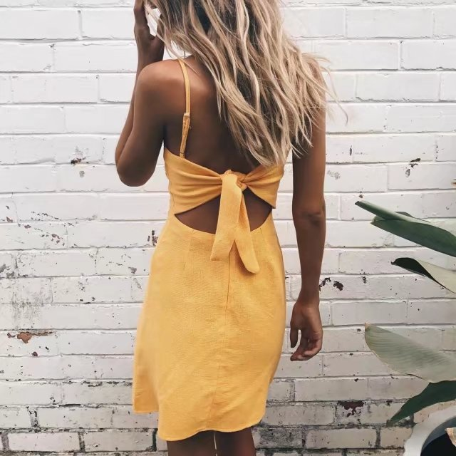 Sexy Sling Bow High Waist Dress