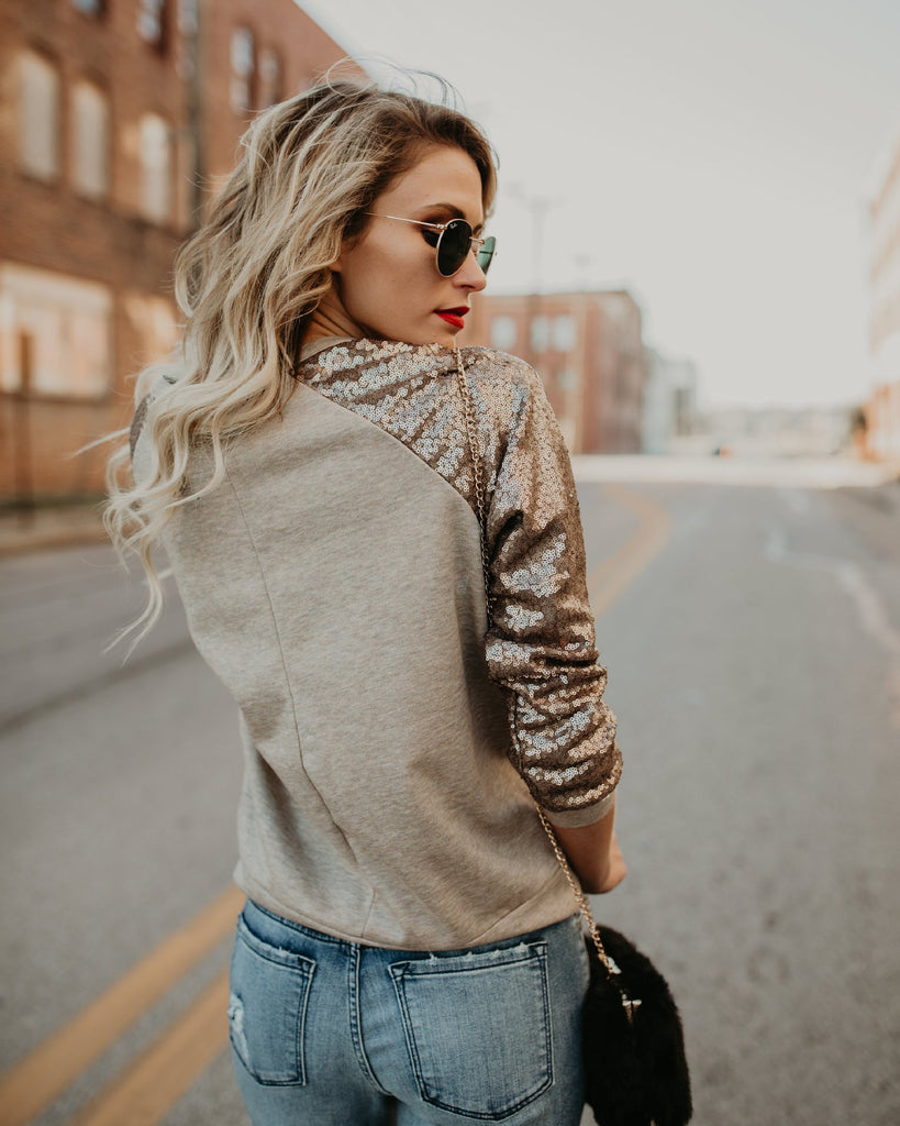 Fashion Round Neck Sequined Long-Sleeved T-Shirt