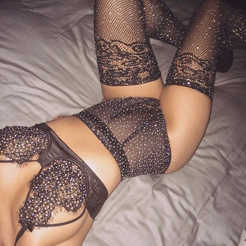 Sexy Lace Mesh Splicing Underwear Two-Piece