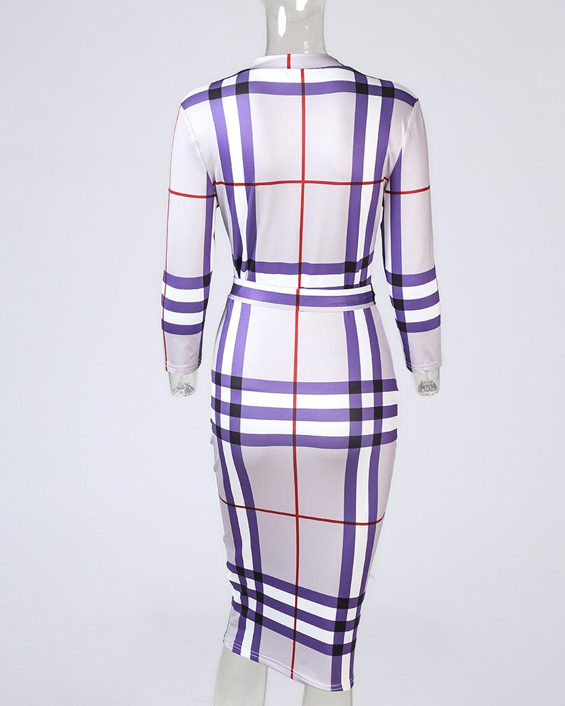 Long Sleeve Sexy Check Dress