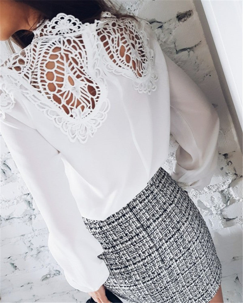 Long Sleeved Sexy Lace Splice Chiffon Top