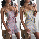 Fashion Sexy Sleeveless Stripe Dress