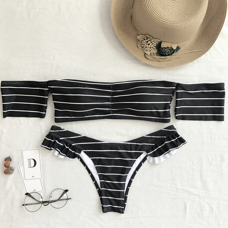 2018 new striped bikini ladies split swimsuit with sleeves ruffled swimwear