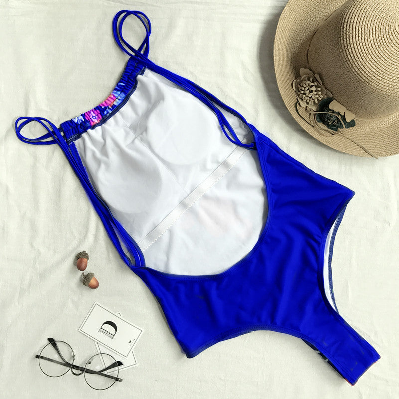 2018 New Siamese Bikini Lady Sexy Printed Swimsuit Bandage Flower Swimsuit