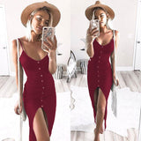 Solid Color Sexy V-Neck Sling Dress