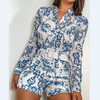 Elegant Blue Long Sleeve Printed Jumpsuit