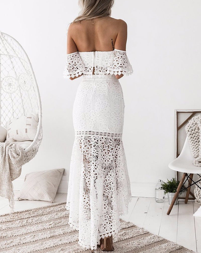 Elegant Solid Color Strapless Lace Two-Piece Dress