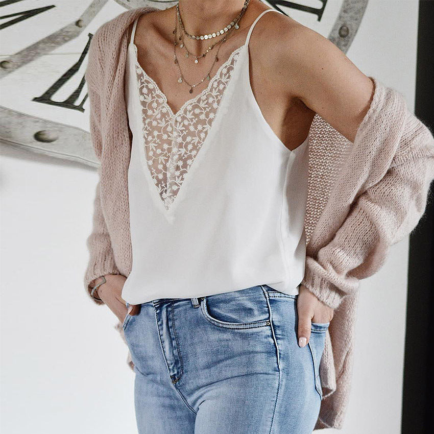 Women'S Sexy Lace V-Neck Sling Top