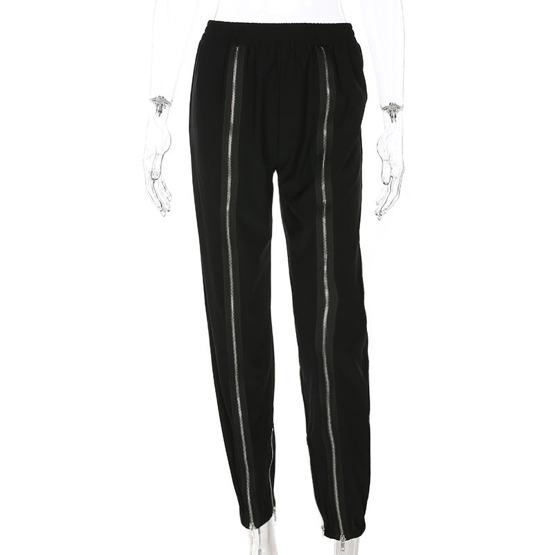Women'S High Waist Zipper Splice Pants