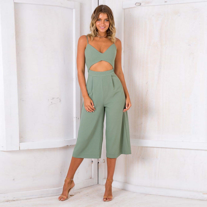Fashion Sexy Sling Zipper Backless Jumpsuit