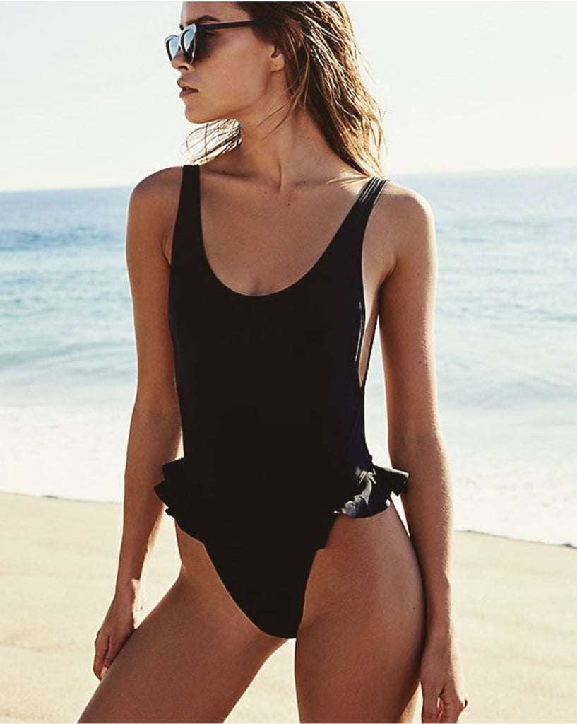 Solid Color Backless Bikini One Piece Swimwear