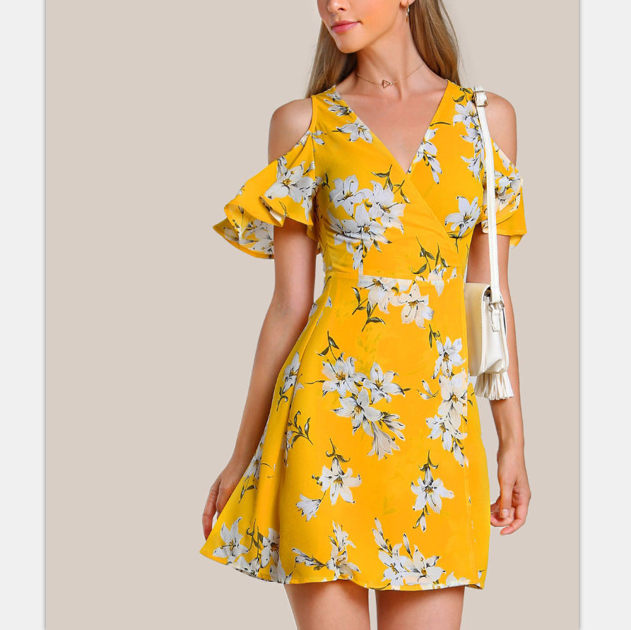 Slim Printing Off-The-Shoulder Ruffled Dress
