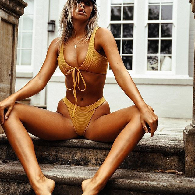 Fashion Sexy Yellow Two-piece Bikini Swimsuit
