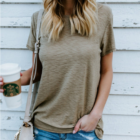Solid Color Sexy Short-Sleeved T-Shirt