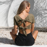 2018 Women'S V-Neck Bowknot T-Shirt