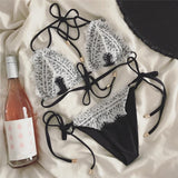 Solid Color Sexy Lace Bikini Swimsuit