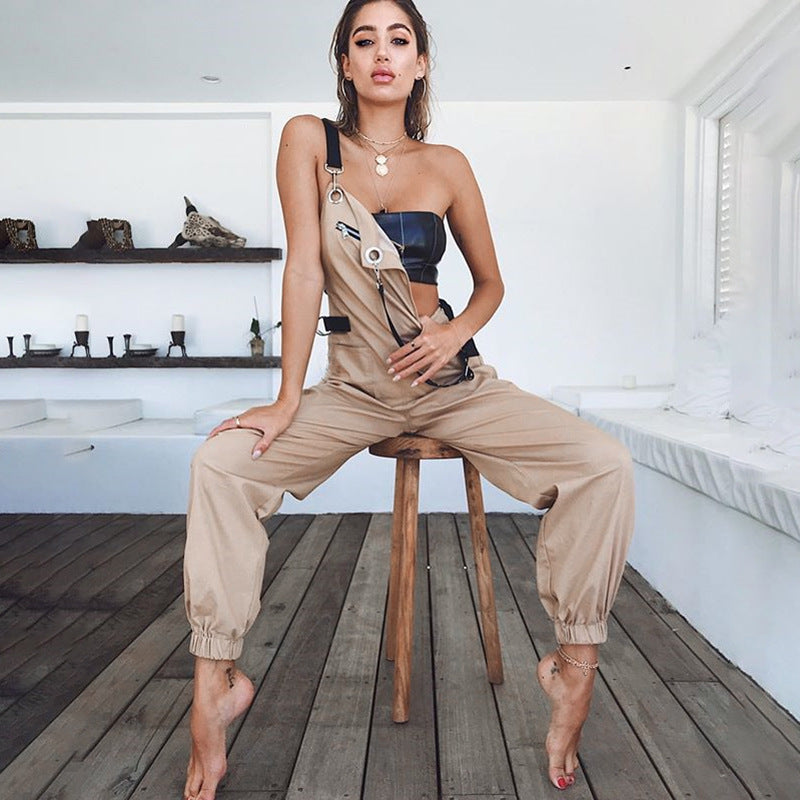 2018 Fashion Zipper High Waist Jumpsuit