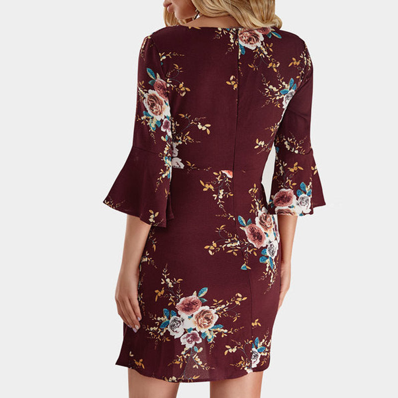 Slim Sexy V-Neck Print Dress
