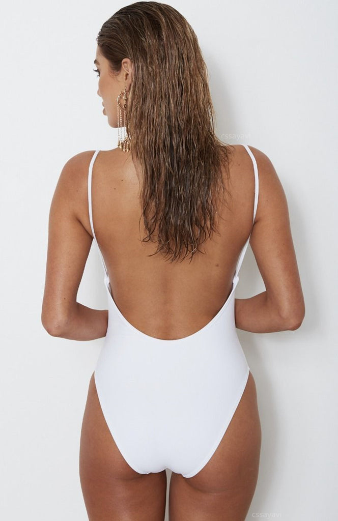 Solid Color Sexy Bikini Zipper One Piece Swimsuit