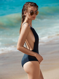 SOLID COLOR CONJOINED BIKINI SWIMSUIT