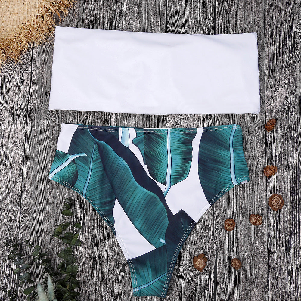 Sexy Leaf Print Bikini High Waist Swimsuit