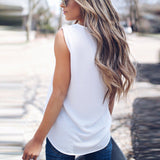 Sexy V-Neck Solid Color Sleeveless T-Shirt