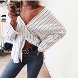 Long Sleeve V-Neck Striped Shirt