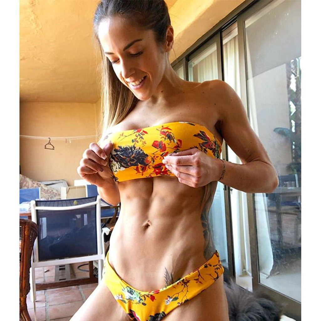2018 Sexy Yellow Printed Triangle Bikini Swimsuit