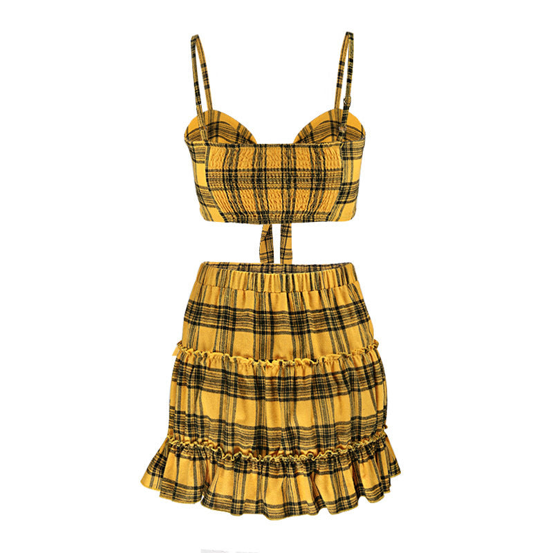 Sexy Plaid Vest Sleeveless Bow Two-piece Set