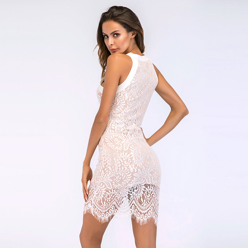 Women'S Sexy Slim Bag Hip Lace Dress