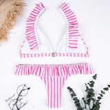 2018 Sexy Ruffled Pink Striped Bikini Split Swimsuit