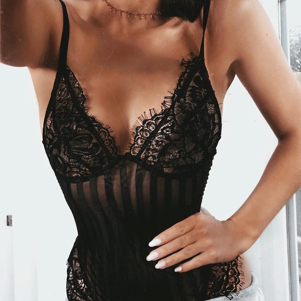 Women's Sexy Lace Striped Jumpsuit