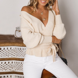 Fashion V-Neck Long Sleeve Backless Knitted Sweaters