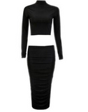Design long-sleeved two-piece dress