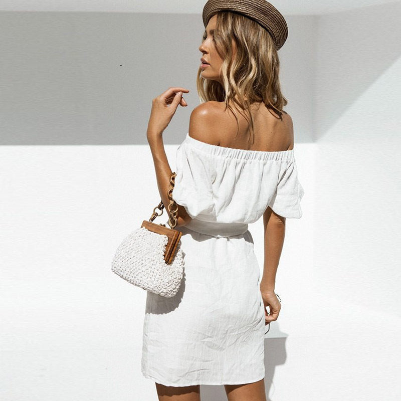 Solid Color Sexy Halter Short-Sleeved Dress