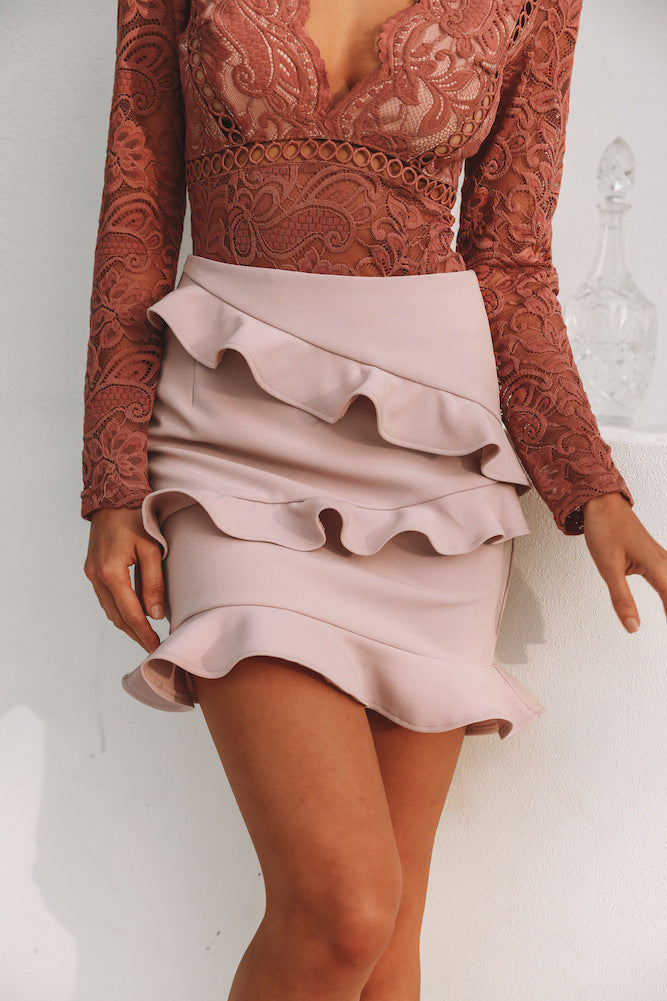 Solid Color Zipper Flounced Package Hip Skirt