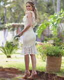 Women Fashion Sexy White Lace Ruffle Dress