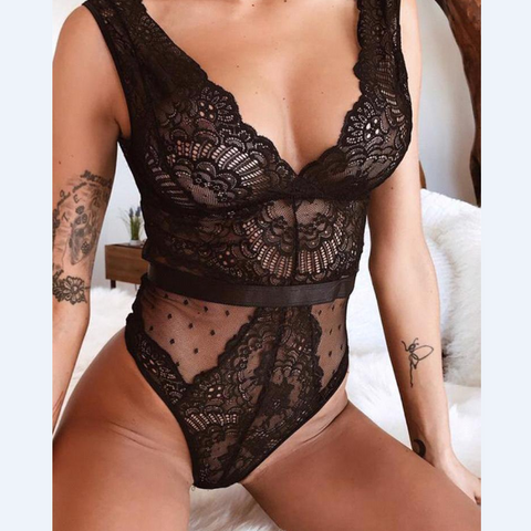 Women Sexy Lace Zipper V Neck Strap Bodysuit