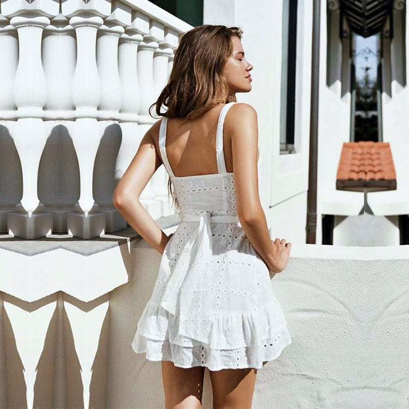 Women'S Sexy Embroidery White Sling Dress