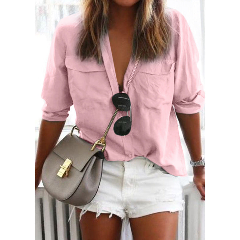 Solid Color Long Sleeve Button Shirt