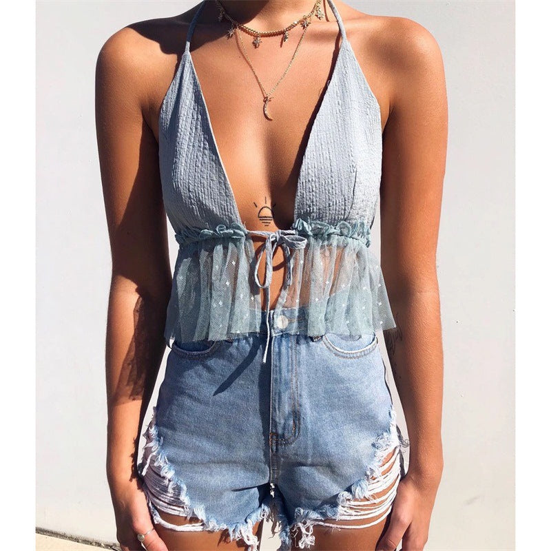 Fashion Sling Sexy V-Neck Halter Top