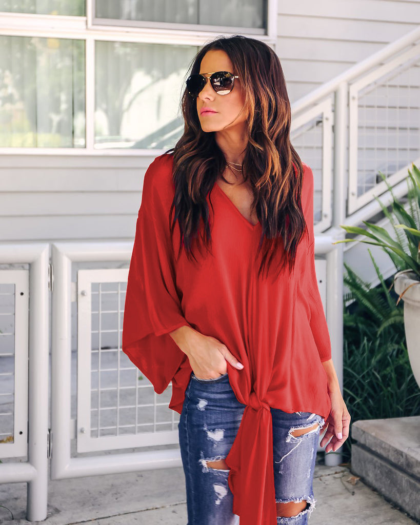 Solid Color V-Neck Loose Chiffon Top