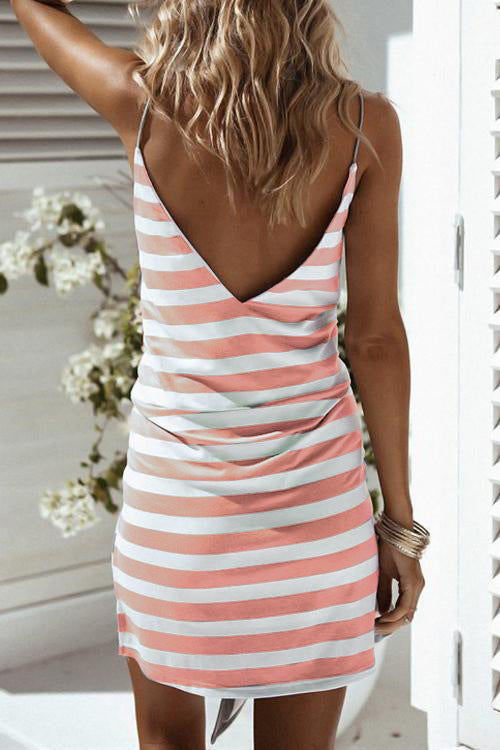 Women'S Sexy V-Neck Backless Stripe Sling Dress