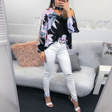 Fashion V-Neck Off-Shoulder Long-Sleeved Printed Shirt
