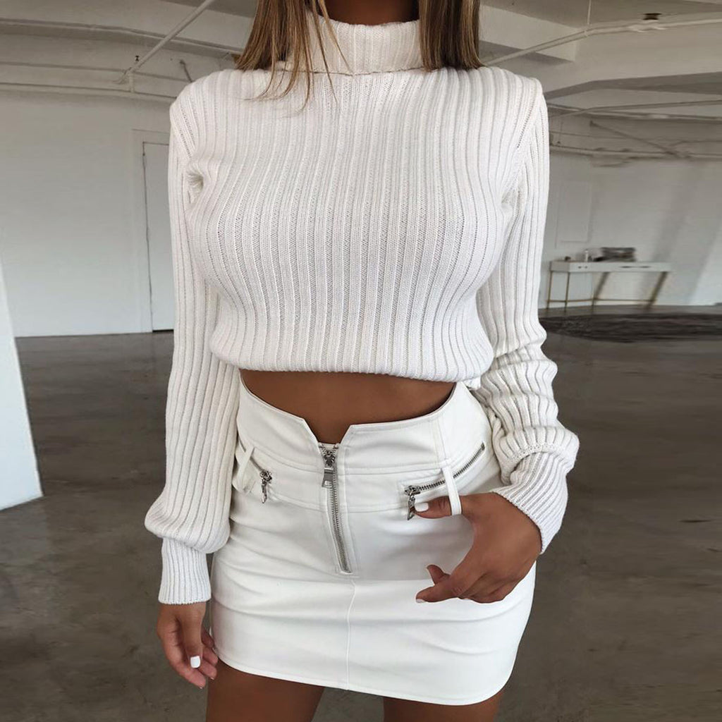 Solid Color High-Necked Slim Casual Sweater