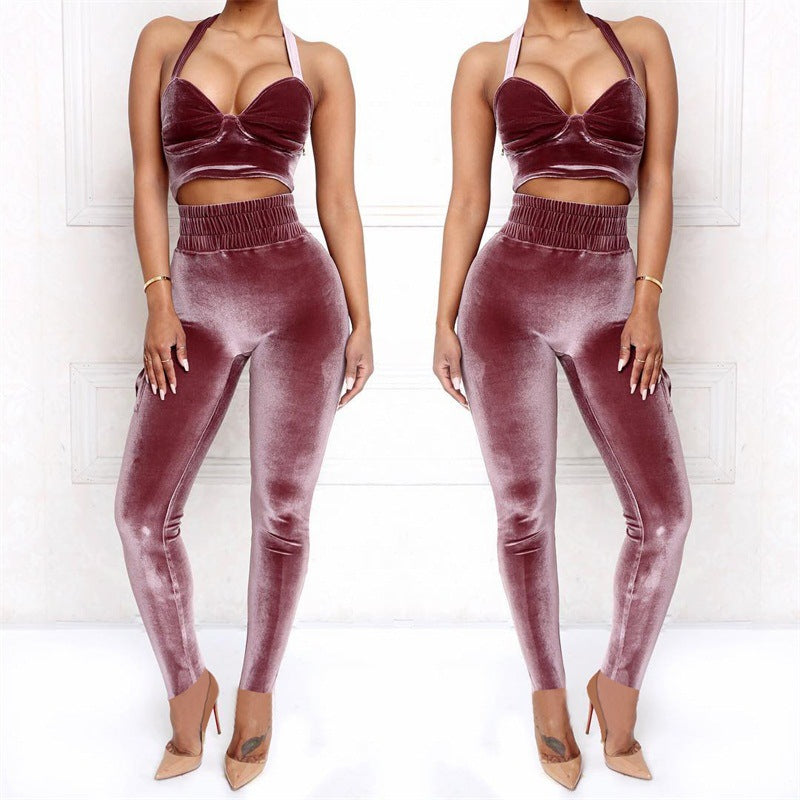 Sling Vest High Waist Two-Piece Sports Trousers