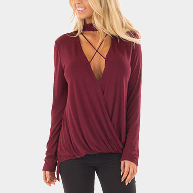 V-Neck Sexy Long-Sleeved Top