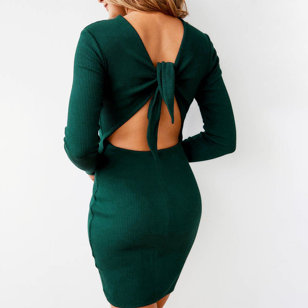 Women'S Long Sleeve Solid Color Slim Dress