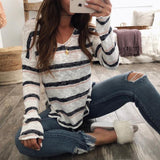 Casual V-neck Long Sleeve Loose Knit Stripe Sweater